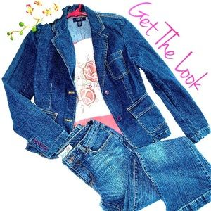 Other - Floral Top with IZOD Denim Jacket & Jeans
